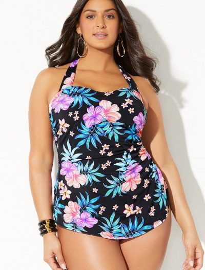 Plus Size Lanai H-Back Sarong Front One Piece Swimsuit