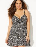 Plus Size Leopardess Cup Sized Tie Front Underwire Swimdress