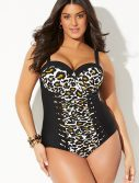 Plus Size Leopardess Cut Out Mesh Underwire One Piece Swimsuit