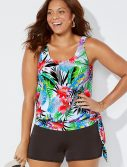 Plus Size Lilo Side Tie Blouson Tankini with Banded Short