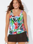 Plus Size Lilo Side Tie Blouson Tankini with Cargo Short