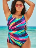 Plus Size Longitude Colorful Desire Double X-Back One Piece Swimsuit