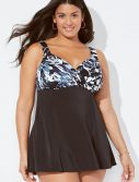 Plus Size Longitude Eclipse Crossover V-Neck Swimdress