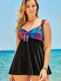 Plus Size Longitude Venom Tie Front V-Neck Swimdress