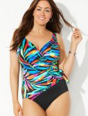 Plus Size Longitude Veranda View Surplice One Piece Swimsuit