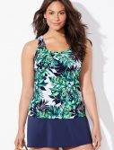 Plus Size Lulav Classic Tankini with Navy Skirt