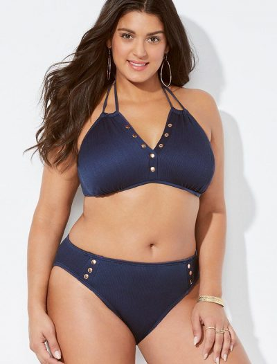 Plus Size Luminary Midnight Ribbed Halter Bikini