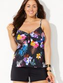 Plus Size Maldives Cup Sized Tie Front Underwire Tankini with Banded Short
