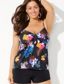 Plus Size Maldives Cup Sized Tie Front Underwire Tankini with Boy Short