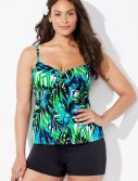 Plus Size Margarita Cup Sized Tie Front Underwire Tankini with Boy Short