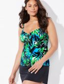 Plus Size Margarita Cup Sized Tie Front Underwire Tankini with Side Slit Skirt