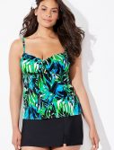 Plus Size Margarita Cup Sized Tie Front Underwire Tankini with Skort