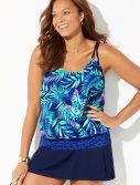 Plus Size Marlin Loop Strap Blouson Tankini with Skirt
