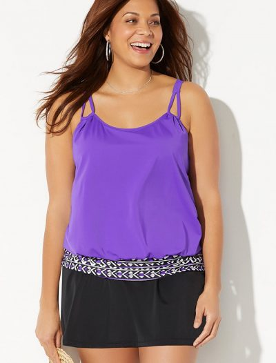 Plus Size Mulberry Loop Strap Blouson Tankini with Skirt
