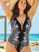 Plus Size Mysterious Plunge One Piece Swimsuit