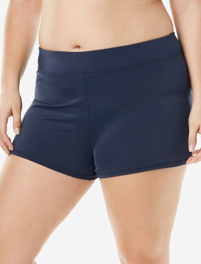 Plus Size Navy Banded Waist Short