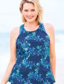 Plus Size Navy Floral Racerback Tankini Top