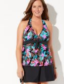Plus Size Oasis Halter Tankini with Slit Skirt