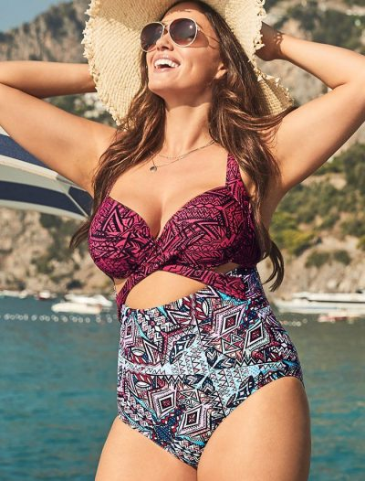 Plus Size Orbit Cut Out Underwire One Piece Swimsuit