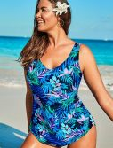 Plus Size Pacific Sarong Front One Piece Swimsuit
