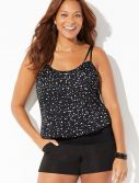 Plus Size Pearl Loop Strap Blouson Tankini with Cargo Short