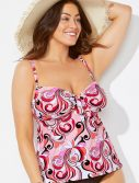 Plus Size Pink Nostalgia Cup Sized Tie Front Underwire Tankini Top