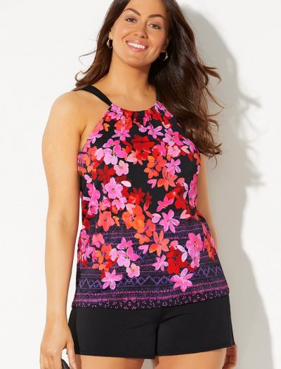 Plus Size Primrose High Neck Tankini with Banded Short
