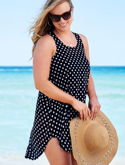 Plus Size Quincy Polka Dot Sheer High Low Tunic