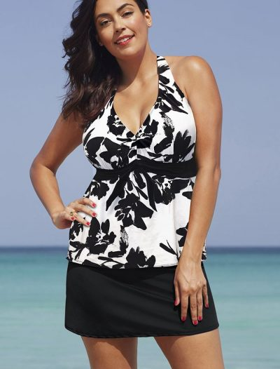 Plus Size Raven Halter Tankini with Side Slit Skirt