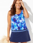 Plus Size Retrograde Side Tie Blouson Tankini with Skirt
