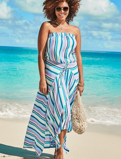 Plus Size Riley Striped Bandeau Dress
