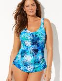 Plus Size River Sarong Front One Piece Swimsuit