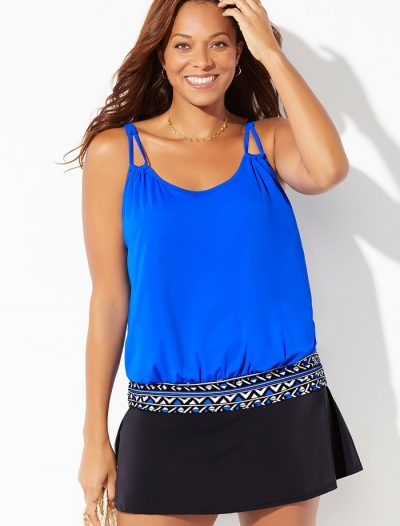 Plus Size Royal Loop Strap Blouson Tankini with Skirt