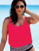 Plus Size Salsa Loop Strap Blouson Tankini Top