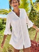 Plus Size Sandra Taupe Striped Button Up Shirt