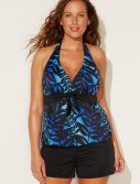 Plus Size Sapo Halter Tankini with Banded Short