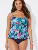 Plus Size Snapdragon Flared Tankini