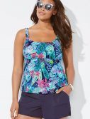 Plus Size Snapdragon Flared Tankini with Cargo Short