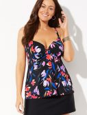 Plus Size Snowbird Bra Sized Flyaway Underwire Tankini with Slit Skirt