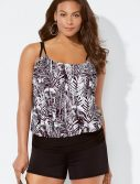 Plus Size Sparrow Loop Strap Blouson Tankini with Banded Short