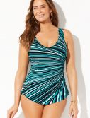 Plus Size Tide Sarong Front One Piece Swimsuit