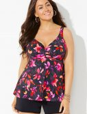Plus Size Tiger Lily Bra Sized Sweetheart Underwire Tankini with Banded Short