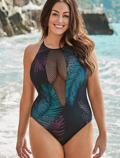 Plus Size Venice Mesh High Neck One Piece Swimsuit