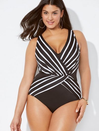 Plus Size Verge Plunge Surplice One Piece Swimsuit