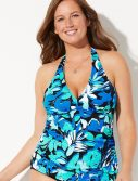 Plus Size Waves Shirred Halter Tankini Top