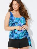 Plus Size Whirlwind Side Tie Blouson Tankini with Banded Short