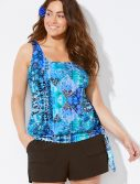 Plus Size Whirlwind Side Tie Blouson Tankini with Cargo Short