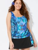 Plus Size Whirlwind Side Tie Blouson Tankini with Skirt