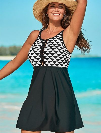 Plus Size Winner Lace Up High Neck Swimdress