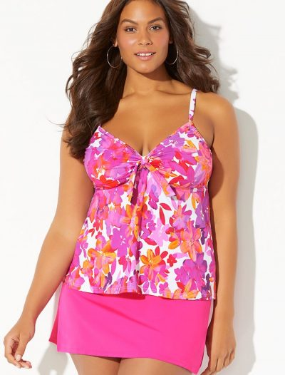 Plus Size Zinnia Cup Sized Tie Front Underwire Tankini with Pink Side Slit Skirt